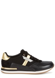 Dolce And Gabbana Black Gold Leather Trainers