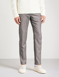 Slowear Pinhead Slim Fit Tapered Wool And Cotton Blend Trousers Grey