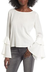 Sun And Shadow Women's Ruffle Bell Sleeve Blouse