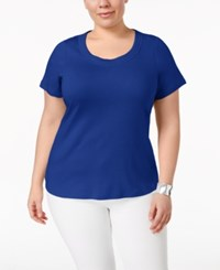 Charter Club Plus Size Pima Cotton Scoop Neck T Shirt Only At Macy's Modern Blue