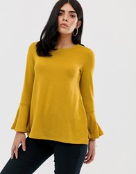 Ax Paris Flared Sleeve Long Sleeve Blouse Yellow