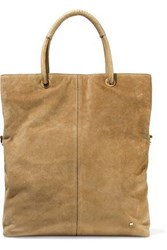 Halston Leather Trimmed Suede Tote Camel