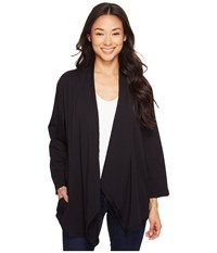 Mod O Doc Cotton Modal Spandex French Terry Open Front Cardigan Black Women's Sweater
