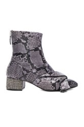 N 21 No. Snakeskin Embossed Bow Booties In Gray Animal Print Gray Animal Print