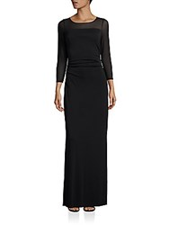 Laundry By Shelli Segal Ruched Three Quarter Sleeve Gown Black