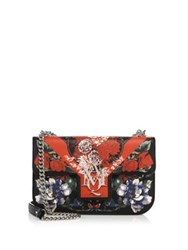 Alexander Mcqueen Floral Print Insignia Leather Chain Satchel Black Red