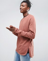 Asos Sweatshirt With Curved Hem Chestnut Red