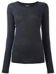 Majestic Filatures Long Sleeved Fitted Top Grey