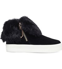 Carvela Lille Foldover Cuff Suede Trainers Black