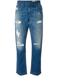 Rag And Bone Jean Distressed Boyfriend Jeans Blue