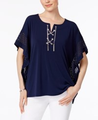 Jm Collection Chain Lace Up Poncho Only At Macy's Intrepid Blue