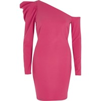 River Island Pink One Shoulder Puff Sleeve Bodycon Dress