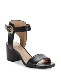 424 Fifth Harriet Leather Open Toe Sandals Black