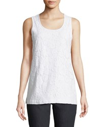 Joan Vass Floral Lace Layering Tank White