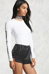 Forever 21 Faux Leather Lace Up Shorts Black