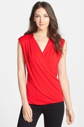 Classiques Entier Sleeveless Crepe Wrap Front Top Red
