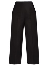 Msgm Wide Leg Cropped Trousers Black