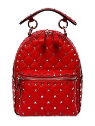 Valentino Garavani Mini Rockstud Spike Leather Backpack Rouge Pure