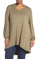 Melissa Mccarthy Seven7 Plus Size Women's Long Sleeve V Neck Tee Burnt Olive