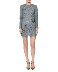 Red Valentino Butterfly Embellished Lace Mini Dress Pale Blue Women's
