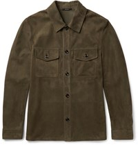 Tom Ford Slim Fit Suede Shirt Jacket Army Green