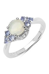 Olivia Leone Sterling Silver Opal Tanzanite And White Topaz Ring