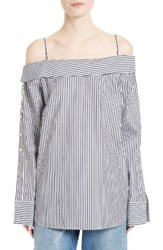 Robert Rodriguez Women's Off The Shoulder Stripe Shirt