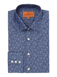 Simon Carter Jacquard Flower Shirt Navy