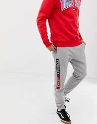 Tommy Jeans Regular Fit Cuffed Joggers With Side Logo In Light Grey
