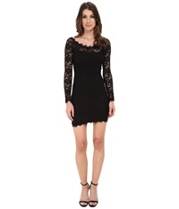 Alejandra Sky Short Long Sleeve Eyelash Lace Dress Black Women's Dress