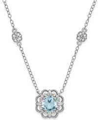 Macy's Aquamarine 3 4 Ct. T.W. And Diamond Accent Pendant Necklace In 14K White Gold