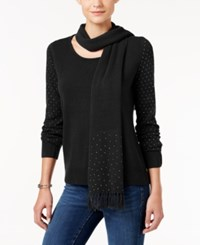 Karen Scott Luxsoft Embellished Scoop Neck Sweater With Scarf Only At Macy's Luxsoft Black