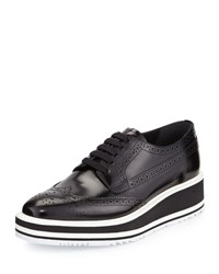 Prada Platform Brogue Trim Leather Oxford Black