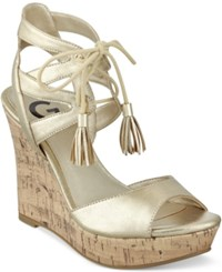 G By Guess Estes Platform Wedge Sandals Women's Shoes Gold Metallic