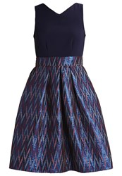 Closet Cocktail Dress Party Dress Navy Multi Dark Blue