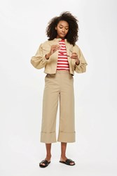Topshop Deep Cuff Cropped Trousers Camel