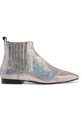 Joseph Glittered Leather Chelsea Boots Silver