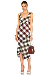 Victoria Beckham Bounce Gingham Open Back Midi Dress In Checkered And Plaid Red Green