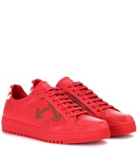 Off White Carry Over Leather Sneakers Red