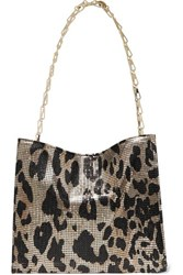 Paco Rabanne Icon Leopard Print Chainmail Shoulder Bag Gold
