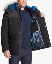 Vry Wrm Men's Free Ride Nordic Stretch Hooded Puffer Coat Black
