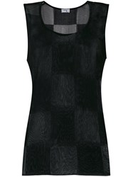 Versace Vintage Checked Sleeveless Tank Black