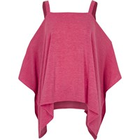 River Island Bright Pink Knit Cold Shoulder Hanky Hem Top