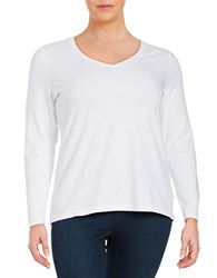Lord And Taylor Plus Compact Long Sleeve Tee White