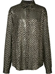 Saint Laurent Sheer Dotted Shirt Women Silk Metallic Fibre 40 Black