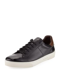 Ermenegildo Zegna Vittorio Leather Low Top Sneaker Black