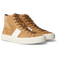 Tom Ford Cambridge Leather Trimmed Suede High Top Sneakers Tan