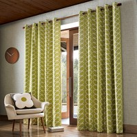 Orla Kiely Linear Stem Eyelet Curtains Olive Green