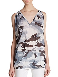 Sweet Pea Camouflage Print V Neck Top Ivory Multi
