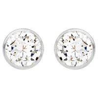 Ibb 9Ct White Gold Round Cubic Zirconia Stud Earrings